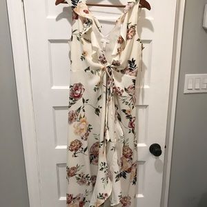 White floral tie dress